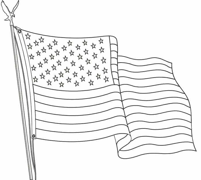 Printable American Flag Coloring Pages In 2020 American Flag