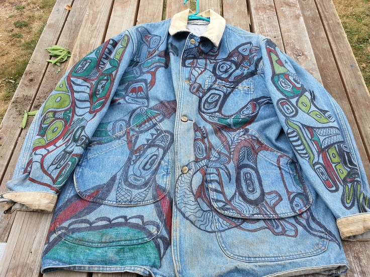 Denim barn coat with the art of Charles Edenshaw. I. Did the coat about 7 years ago.         @Indian Culture, American Indian, Barns Coats, Native Art, Northwest Native, Denim Barns, Pacific Northwest, Charles Edenshaw, Native American