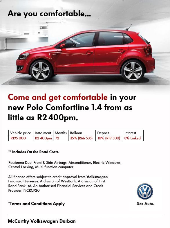 Get comfortable in a New VW Polo Comfortline 1.4 from   R2 400pm.