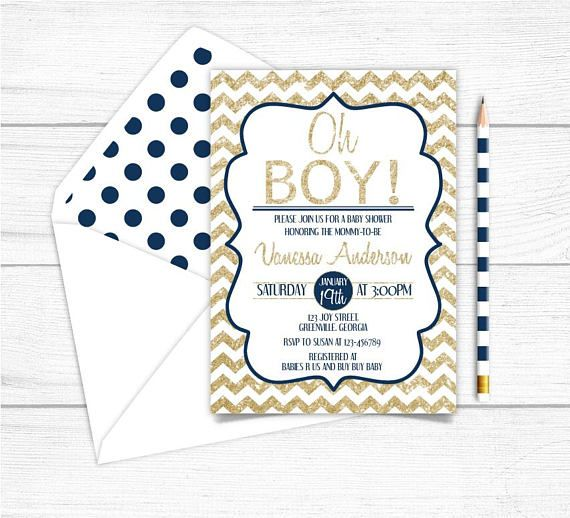 Printable Gold Navy Blue Boys Baby Shower InvitationGold