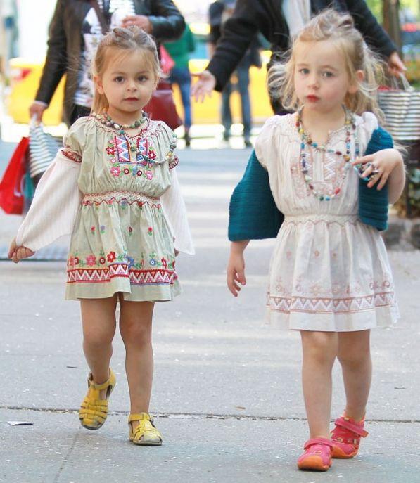 Marion y Tabitha Broderick Parker (3 años, hijas de Matthew y Sarah- Jessica), en Manhattan.