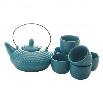 Maxwell & Williams Jozo 7-Piece Japanese Tea Set, Teal | Zanui.com.au