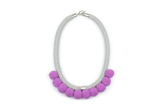 Pom Pom Necklace. Rope necklace. Purple Pompom Jewelry. Rope Jewelry. by casseljewelry #fashion #handmadejewelry #handmade #jewelry #unique #design #casseljewelry #fashionjewelry #jewelrydesign #etsy #ShopEtsy #EtsyFinds #EtsyForAll