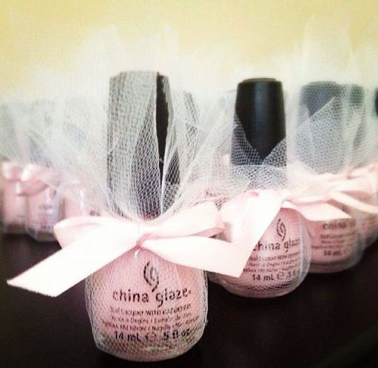 Pretty in pink - pink polish of course. Great bridal shower idea! I need a deep purpleFor bridal shower favors!