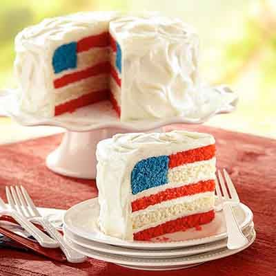 "GOD BLESS AMERICA CAKE ~ Use your favorite Gluten Free cake ~ ""Hattie The Gluten Free Farm Girl"" ~~ American Flag Cake from Land O'Lakes"