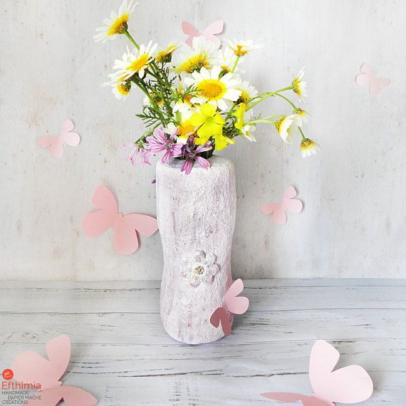 Recycled Flower Vase Paper Mache Vase Upcycled Flower Vase