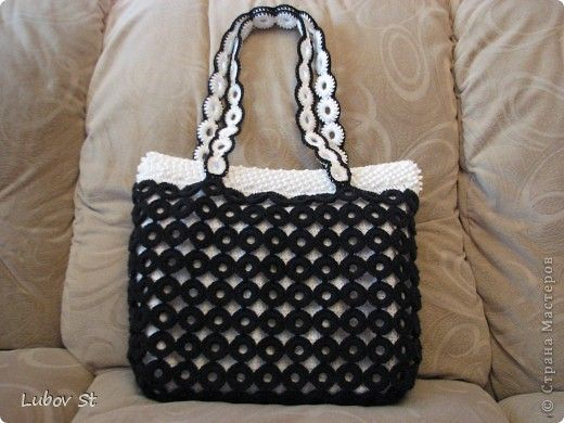 crochet handbag made of plastic rings
