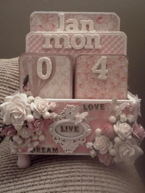 Perpetual calendar - love the pink and white embellishments! Artist Tumble ************************************************ #altered #art #mixed #media #crafts #perpetual #calendar #box #shabby #chic - tå√