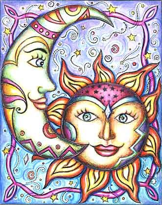 sun & moon, doodles, zentangle,