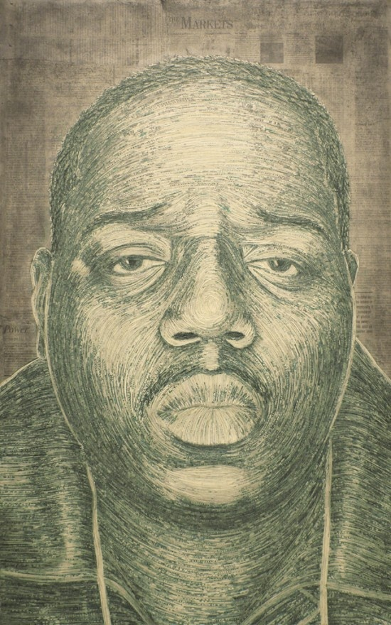 This portrait was created with shredded money.