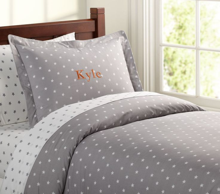 organic star quilt cover grey