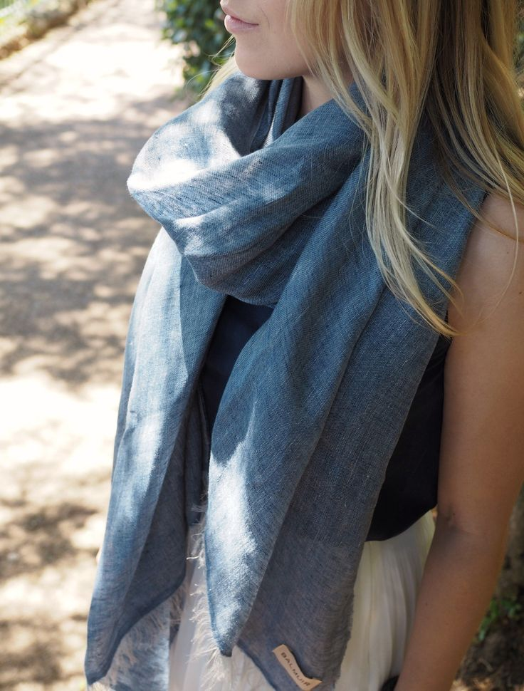 Loren scarf, 80x200cm, midnight, summer, vacation, scarf, linen