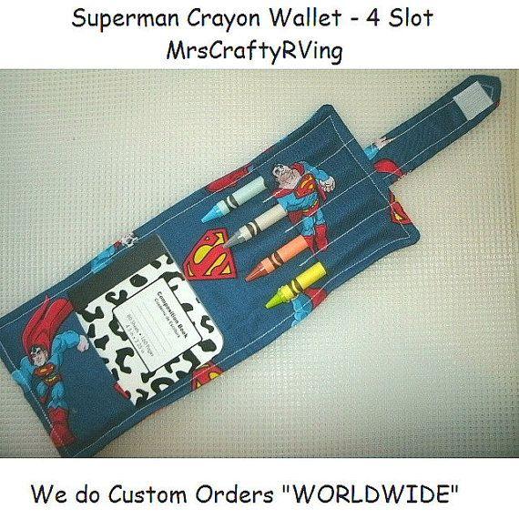Crayon Wallet Superman Wallet Crayon  Superman by MrsCraftyRVing, $5.00 #Superman #Wallet