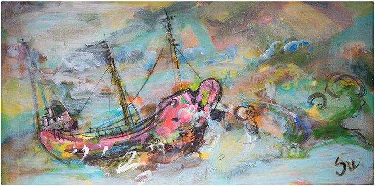 İç Deniz, Boğaz, 150x60 cm, Tuval üzeri akrilik, 2013