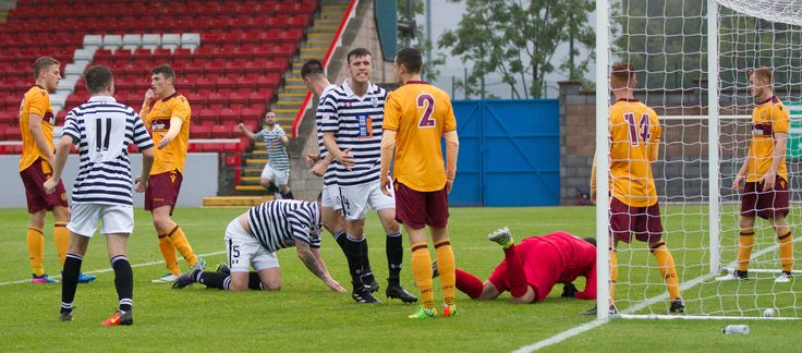 Queen's Park's Adam Cummins celebrates his goal during the IRN-BRU Cup Round 1 game between Motherwell 20s and Queen's Park.