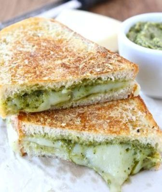 Parmesan Crusted Pesto Grilled Cheese Sandwich ~ The BEST grilled cheese sandwich!