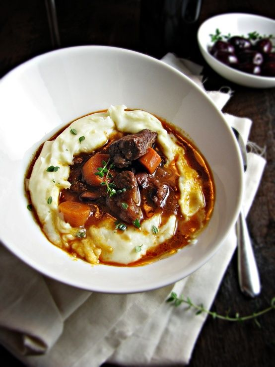 French Beef and Red Wine Stew on Garlic Mashed Potatoes.