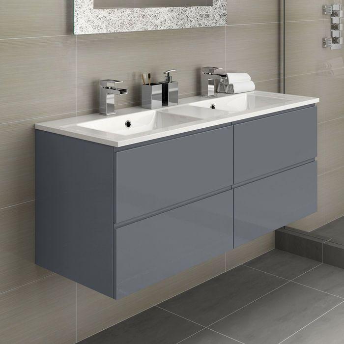 Trevia Gloss Grey Double Basin Vanity Unit 1200mm Basin Vanity