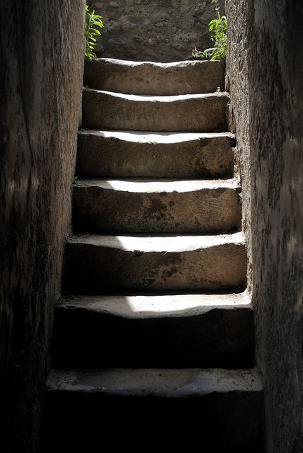 Ruins in Pompeii - How many citizens of Pompeii walked up and down these stairs???