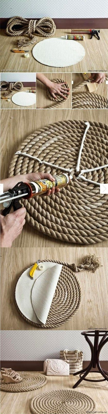 DIY Rope Rug. Want to make the Vertical hanging plants