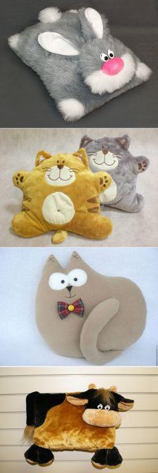 Пушистые подушки в виде животных, мастер-класс — Рукоделие