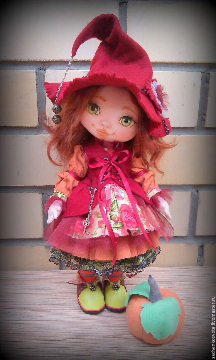 Купить Ведьмочка Гермина - бордовый, хэллуин, ведьмочка, тыква, подарок на любой случай, коллекционная кукла
