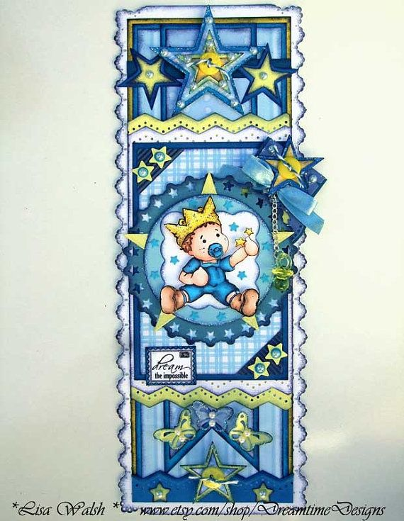Baby Boy Premade Scrapbooking Border - A Magnolia Edwin design by DreamtimeDesigns.