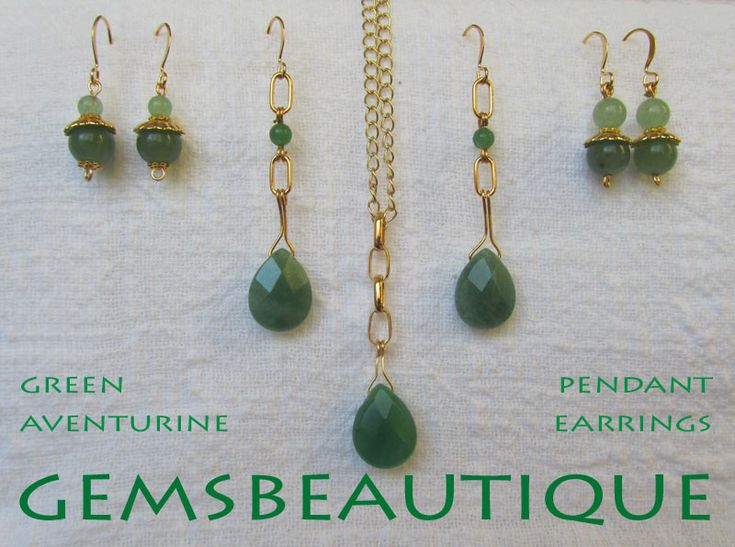 Green #Aventurine #Drop #Earrings and #Pendant #Gold Plated #Gemstone #Jewelry by #GemsBeautique