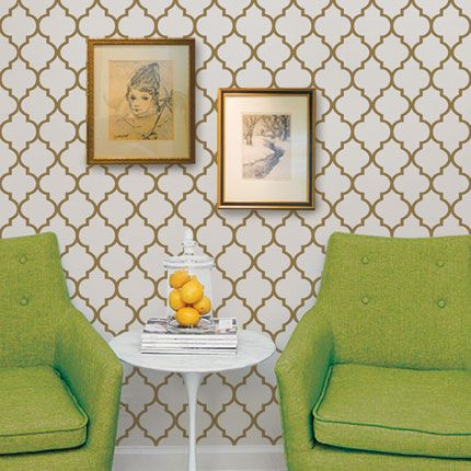 Moroccan Gold Peel & Stick Fabric Wallpaper Repositionable - Simple Shapes Wall Decals, Furniture, and Accessories