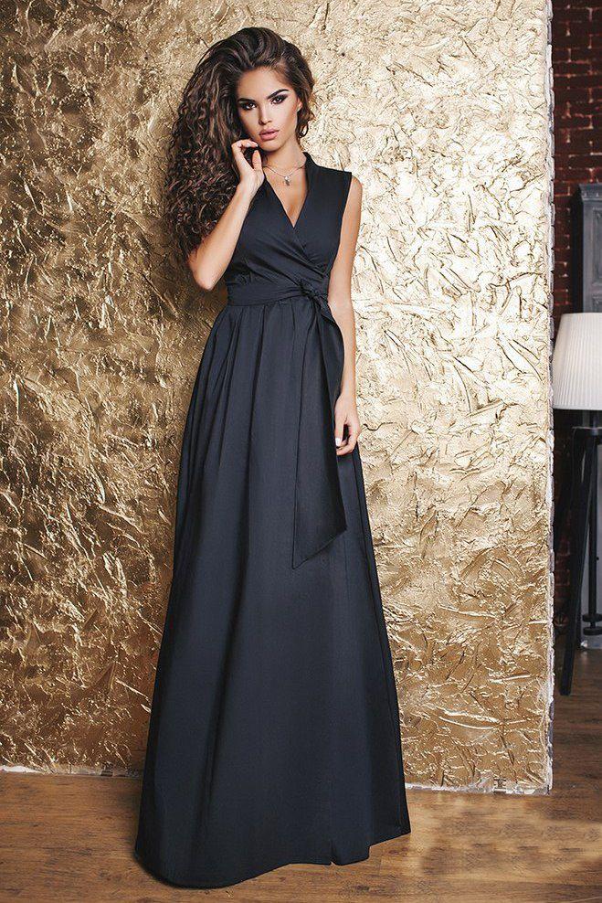 172a69d8fed Длинное летнее платье черное с запахом. Купить модное длинное платье в  Украине в интернет магазине