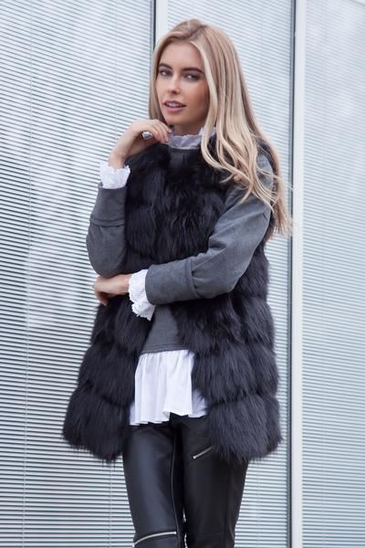 Styled in London Website, Styled in London Clothes, Celebrity Clothing, Black Faux Fur Gilet, Styled in London Dress. Fur Jacket, Fur Vest, Winter Gilet