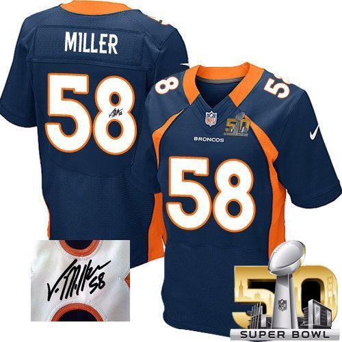 low priced cc78a dc6c7 Nike Broncos 58 Von Miller Navy Blue Alternate Super Bowl 50 Mens Stitched  NFL Elite ...