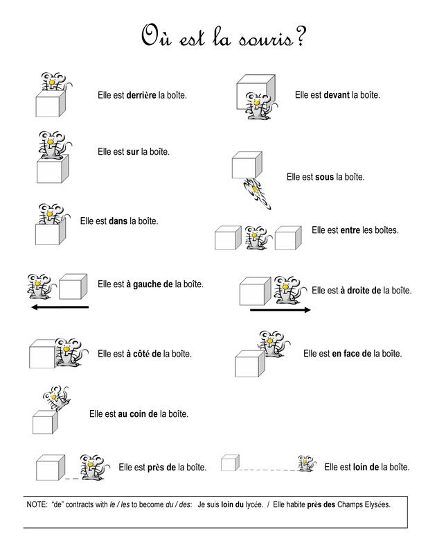 Les prépositions de lieu worksheet AND matching flashcards!