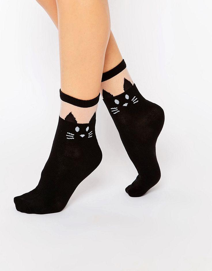 Image 1 ofLeg Avenue Black Cat Opaque Anklet Sock