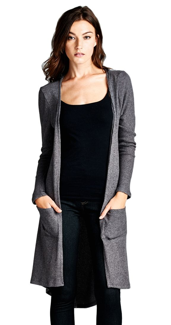 Perfectly Posh Cardi - charcoal. The gorgeous, soft fabric isn't the only posh thing about this cardi. Open style with a hi low hemline, this long cardi says effortless chic. Throw it on over your tunic/legging combo for an instant update.  Open cardi Long sleeve Patch front pockets Hi low hem 62% Rayon 33% Poly 5% Spandex