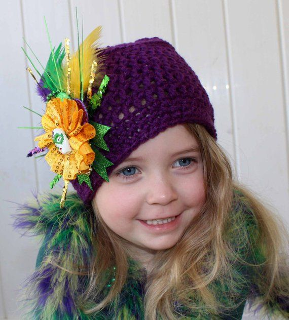 Infant to Adult Hand Crochet Purple Mardi Gras Hat, Shabby Chic Feather Mardi Gr…