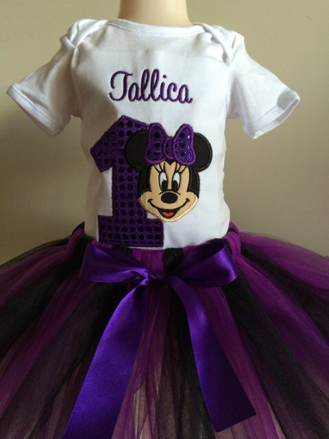 Personalised purple Minnie Mouse inspired 1st birthday tutu set - available in sizes up to 6 years