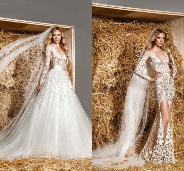 Líbano Sexy de manga comprida vestido de venda quente marfim ver através destacável saia vestidos de casamento preços com saia removível