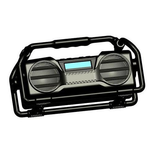 Industrial BoomBoX Rugged Bluetooth Speaker, Heavy-Duty & Splash-Proof Stereo Radio, Portable Wireless Sound System, USB/SD/MP3/FM Radio (Black)