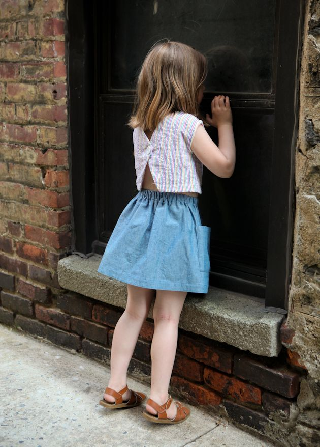 toddler skirt and crop top from vintage pattern // true bias
