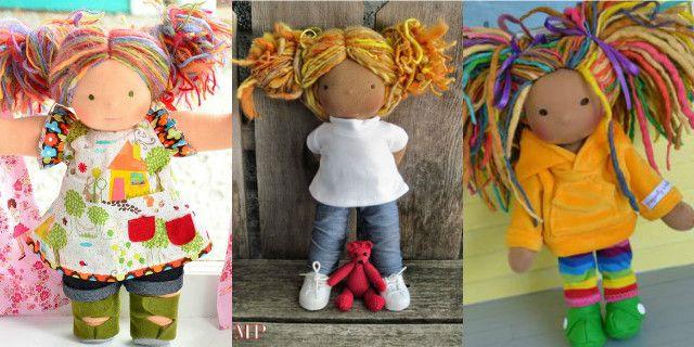 Capelli per bambole di pezza di lana