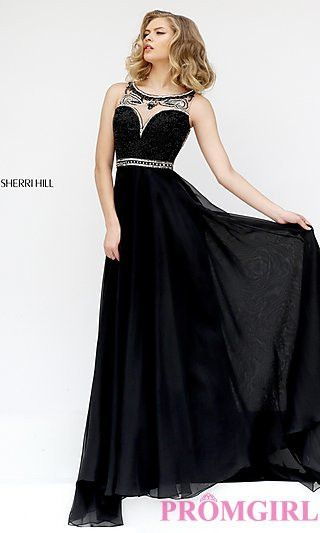 Sherri Hill 11320 chiffon gown with embellished waistline and stunning beaded illusion back.