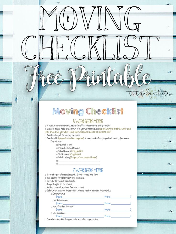 The  Best Moving Checklist Printable Ideas On   First