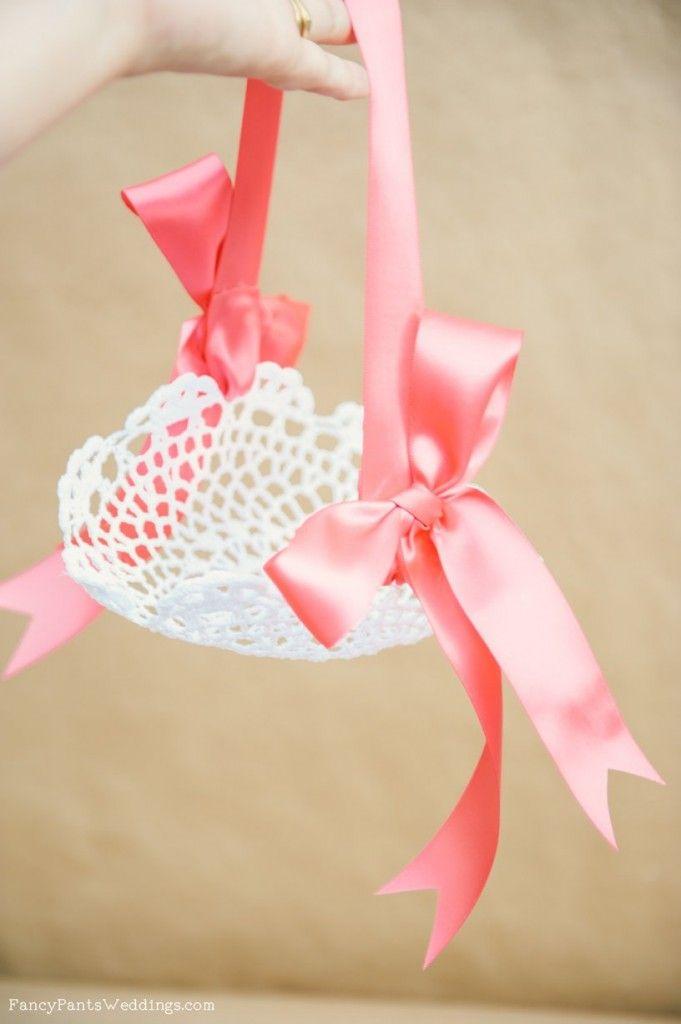 Lace Flower Girl Basket DIY Fancypantsweddings