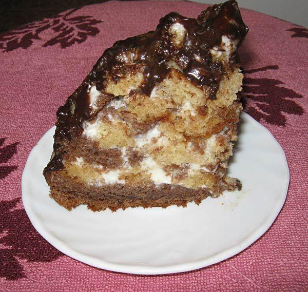 Торт панчо в мультиварке из белого и шоколадного бисквитов