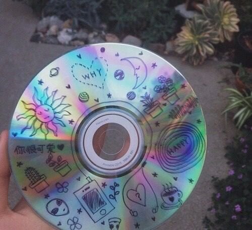 cd, cool, doodles, grunge, rainbow, soft grunge