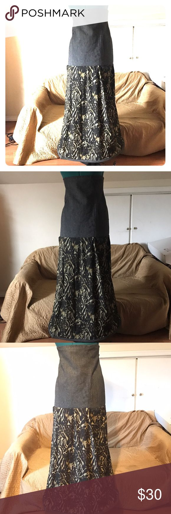 Denim and Sheer Maxi Skirt Can be worn high waisted. Completed with invisible zipper and denim trimming and the bottom.  Waist-35 Hips-42 Length- 43 Measurements in inches Handmade Skirts Maxi