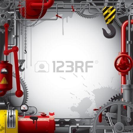 Formation d'ingénieur vecteur avec des engrenages, leviers, tuyaux, les compteurs, ligne de production, de fumée et de levage de grue Banque d'images
