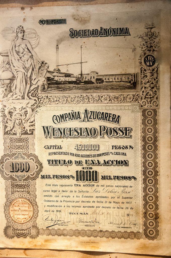 Museo de la Caña de Azúcar, Parque 9 de Julio / AZP3MEX005 Compaňia Azucarera Venceslao Posse 1 000 Pesos Tucumán 04.1919