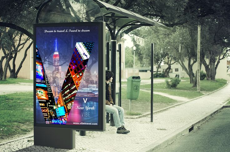 Bus stop billboard, citylight with the poster of a travel agency.
